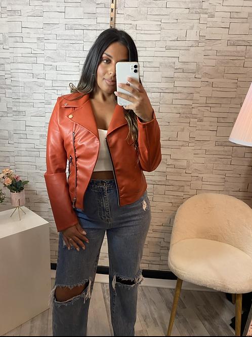 Veste perfecto simili cuir rouge