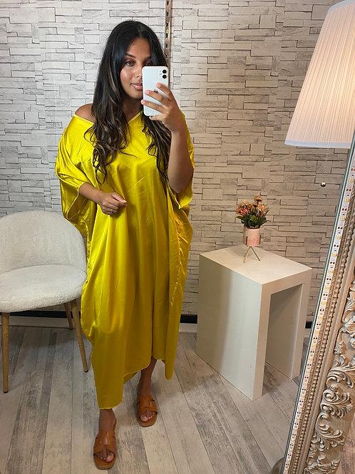 Robe Mina Satinée jaune moutarde