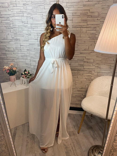 Robe Anastasia asymétrique blanc