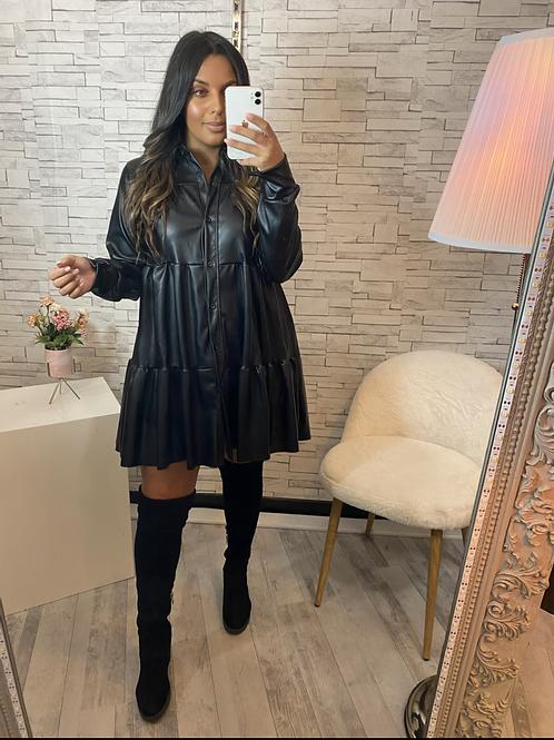 Robe Simili cuir Trisha noir