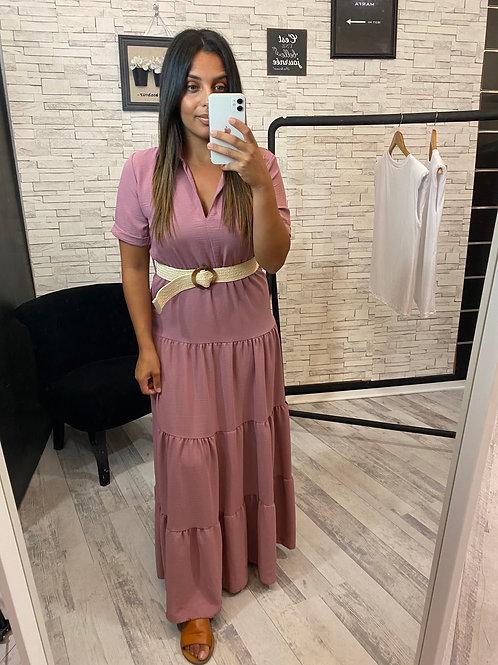 Robe longue Fania rose à ceinture