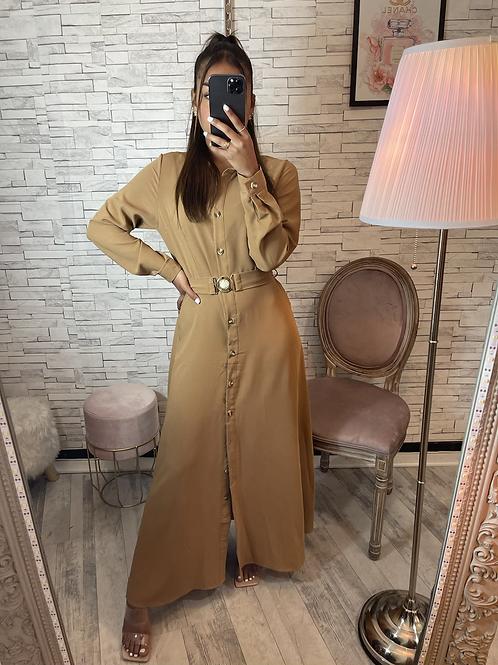 Robe Samira Camel à ceinture et boutons dorées