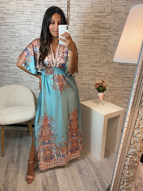 Robe Amanda bleu vert