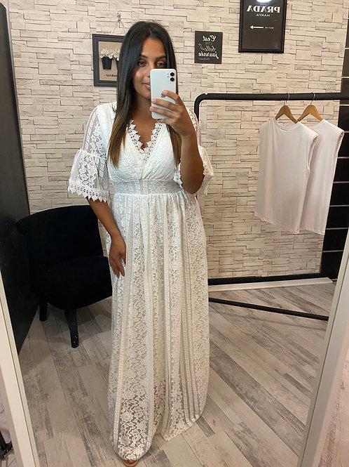 Robe Angelina à dentelle blanc