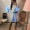 Thumbnail: Robe chemise à col bleu/gris Elanzia