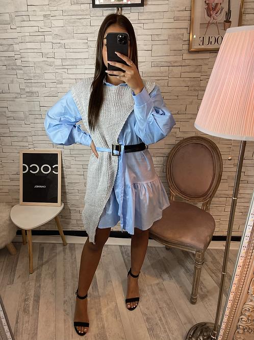 Robe chemise à col bleu/gris Elanzia