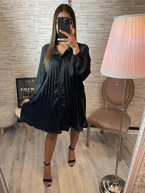 Robe Elisa satinée plissée noir