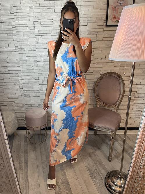 Robe Émilie orange et bleu