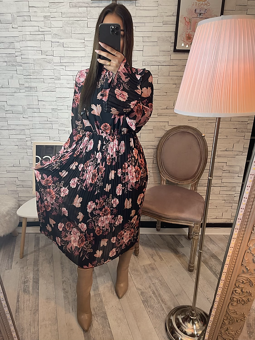 Robe Claudia à fleurs noir