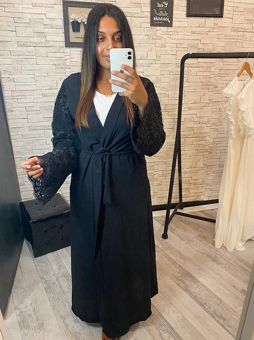Kimono Amira noir à broderie