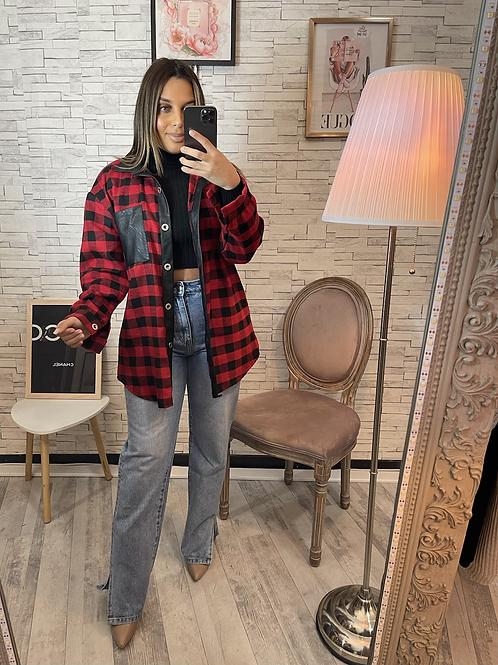 Veste chemise à carreaux Léa rouge