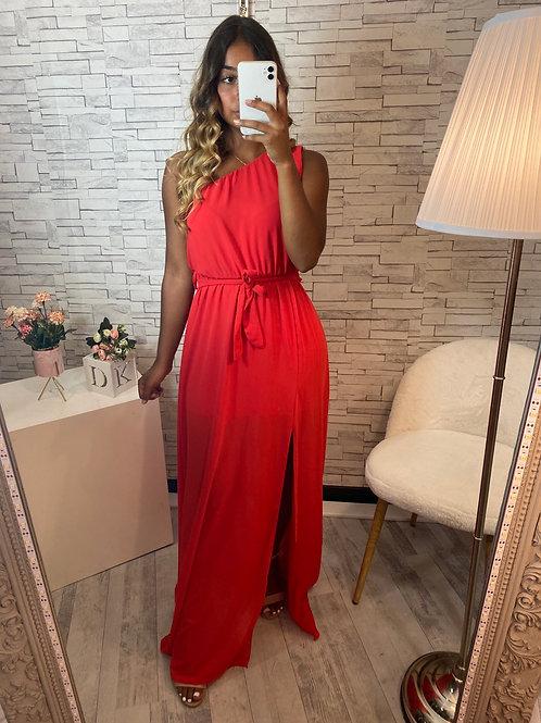 Robe Anastasia asymétrique rouge