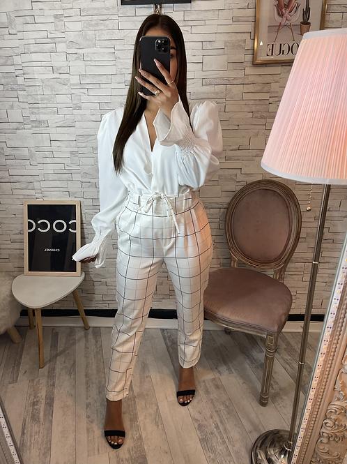 Pantalon à carreau blanc