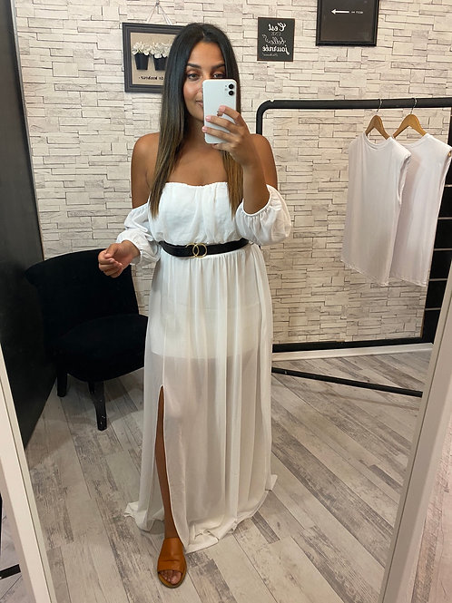 Robe Natanya blanc avec ceinture