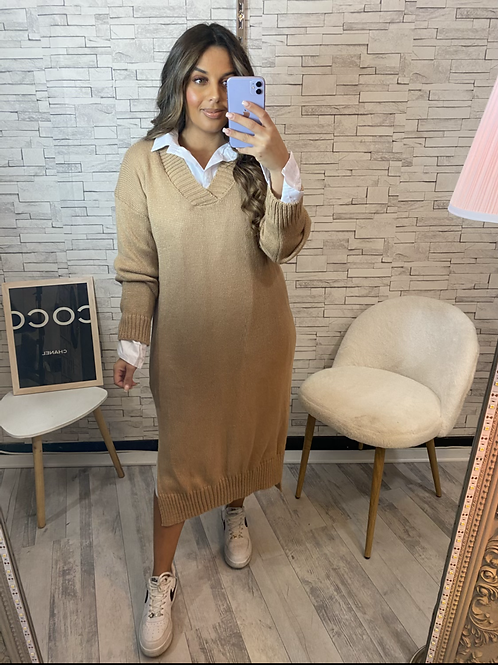 Robe pull longue Lalie beige avec chemise