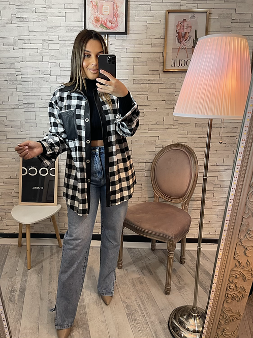 Veste chemise à carreaux Léa noir et blanc