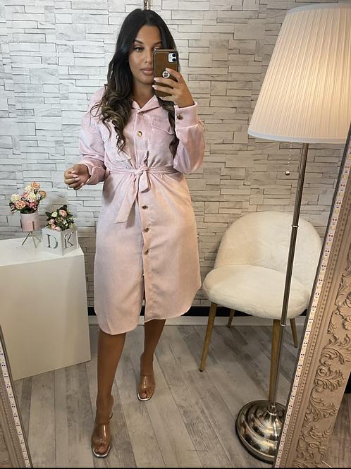 Robe chemise velours rose poudrée