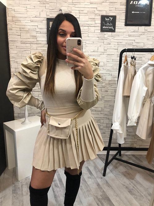 Jupe plissée à sacoche Juliette beige