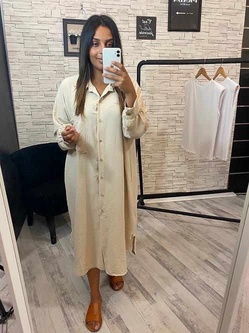 Robe chemise longue beige