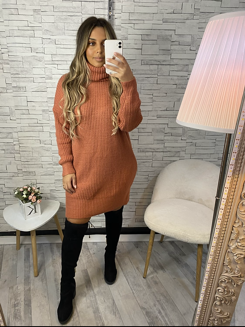Robe pull sofia en maille rouille