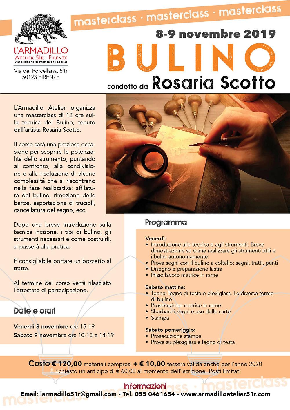 Masterclass di Bulino con Rosaria Scotto all'Armadillo Atelier