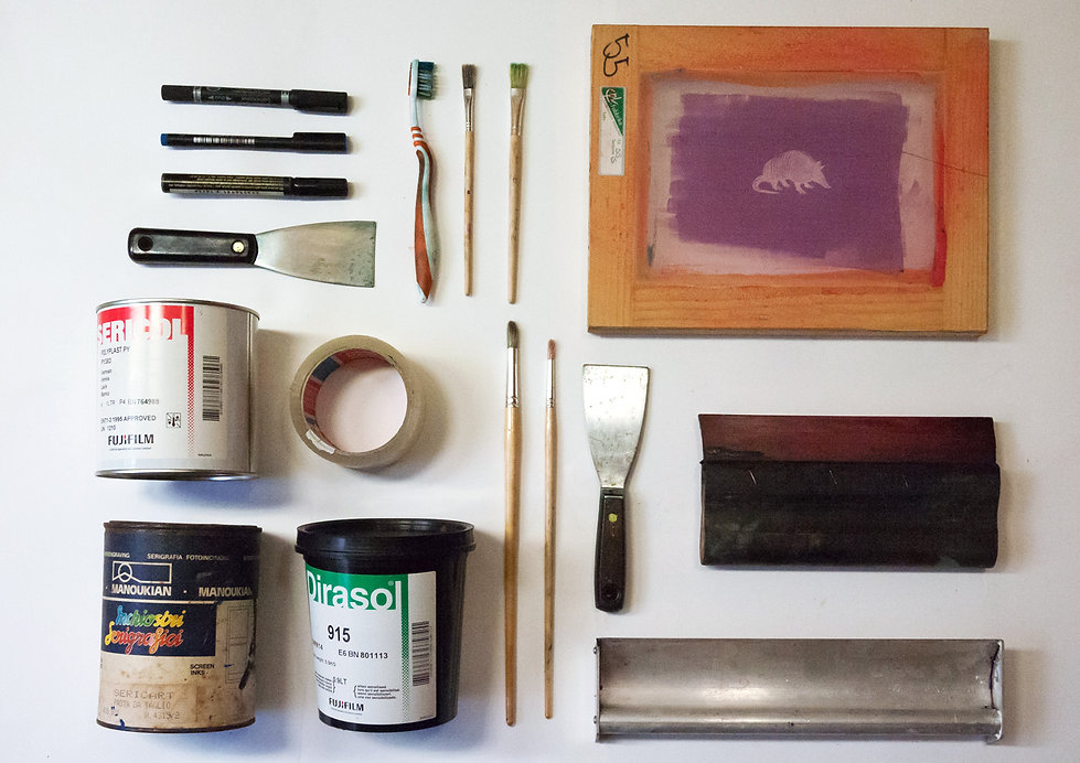 Strumenti per serigrafia dell'Armadillo Atelier