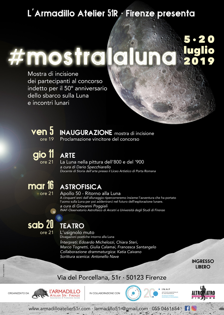 #mostralaluna. Mostra collettiva di incisione e serate lunari