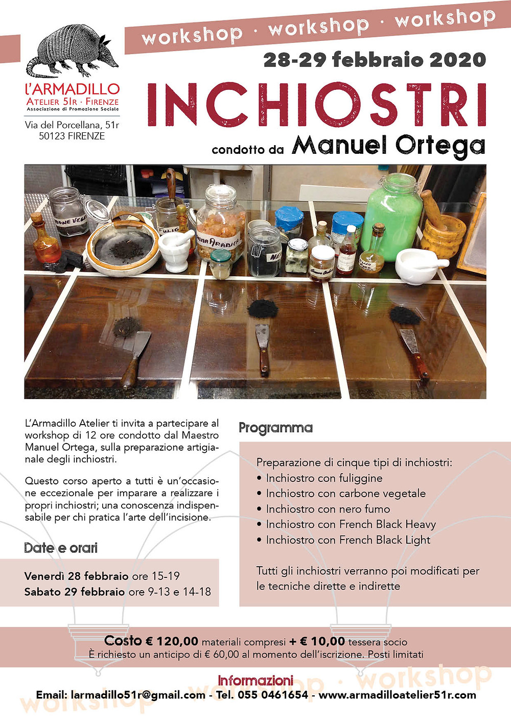 Workshop inchiostri per incisione tenuto da Manuel Ortega