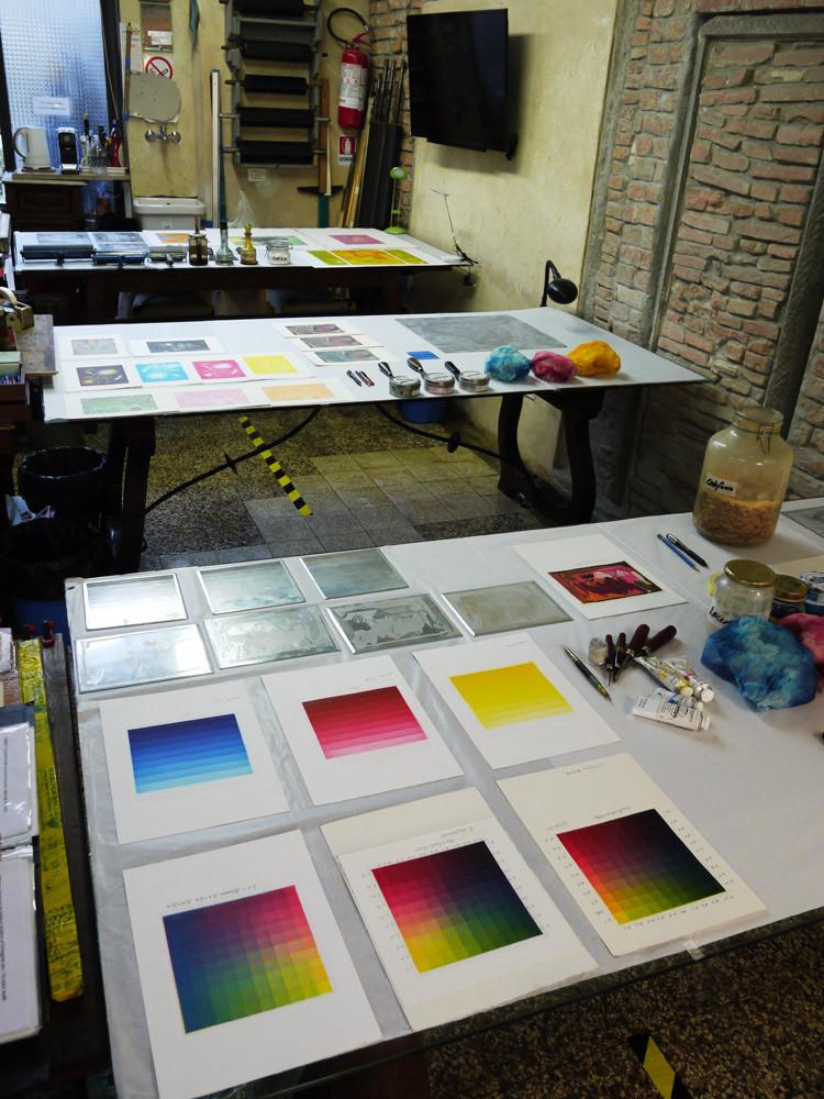 Foto corso di incisione a colori tenuto da Manuel Ortega