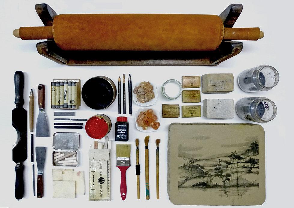 Strumeni per litografia dell'Armadillo Atelier