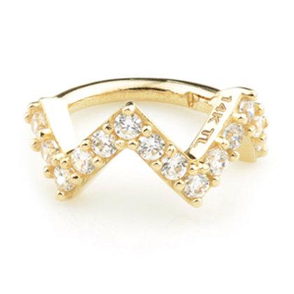 Gold CZ Pavé Zig-Zag Hinge Ring