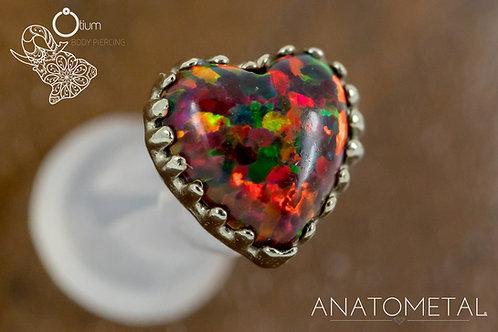 Anatometal 18k White Gold Heart with Synthetic Red Opal