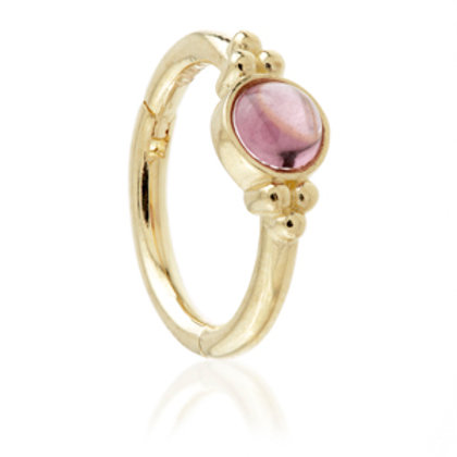 14ct Gold Rhodonite Tri-Dot Hinge Ring