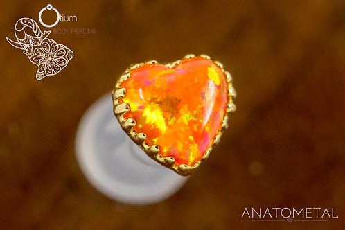 Anatometal 18k Yellow Gold Heart with Synthetic Orange Opal