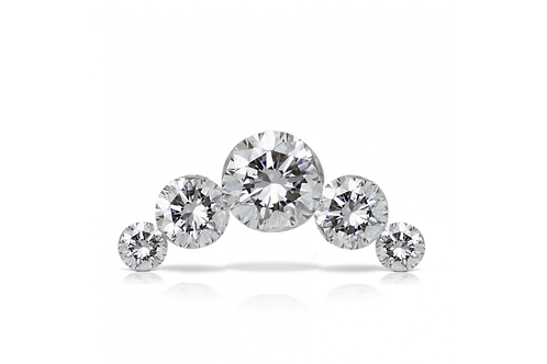 Invisibly Set 5 Clear Diamond Open Curve Threaded Stud