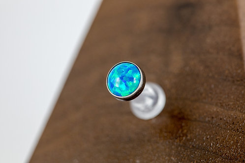 1.6 (14g) Bezel Set XL Peacock Blue Opal End
