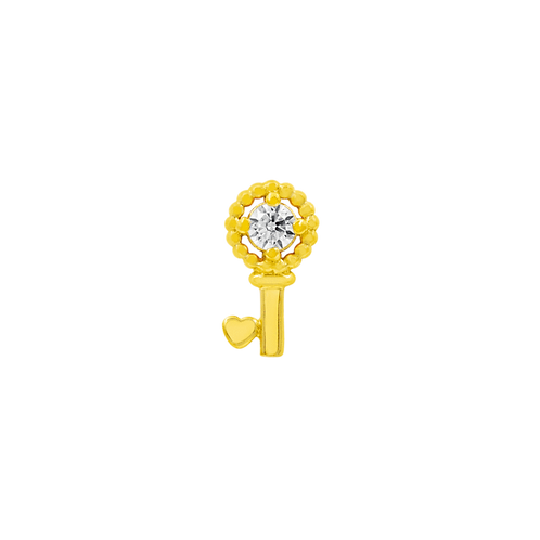 Gold Key with clear Swarovski Gemstone