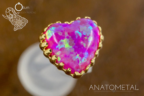 Anatometal 18k Yellow Gold Heart with Synthetic Dark Pink Opal