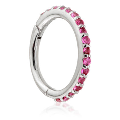 14ct White Gold Ruby Pavé Eternity Hinge Ring - 1.2x8mm