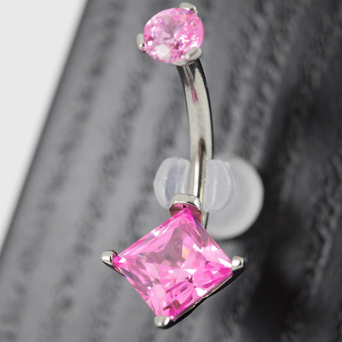 Industrial Strength 4 Prong Set Square Princess Star Cut Navel Curve - Pink