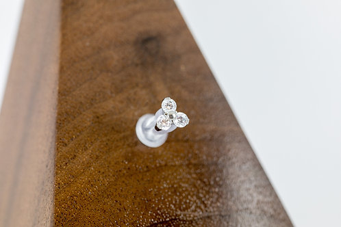 1.2 (16g) Prong Set Maxi Clear CZ Trio End