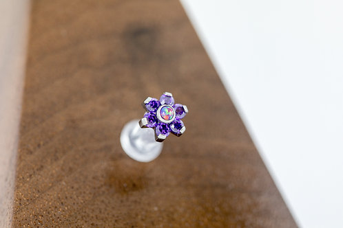 1.2 (16g) Purple Reign CZ & Opal Flower End