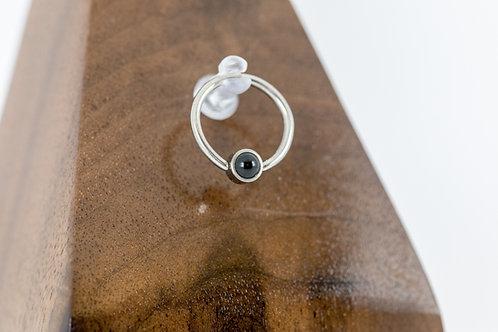 1.2 (16g) Natural Black Onyx Bead Captive Ring