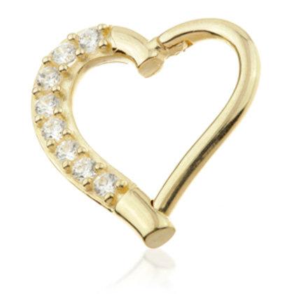 14ct Gold Gem Hinge Heart Ring - 9mm