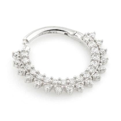 14k White Gold Pavé Multi Jewelled Septum / Daith Ring
