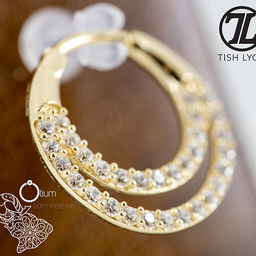 14k Yellow Gold Double Gem Band Daith / Septum Ring