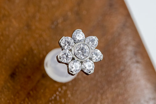 Industrial Strength 16G Threaded 7 Petal Flower with Swarovski - Clear