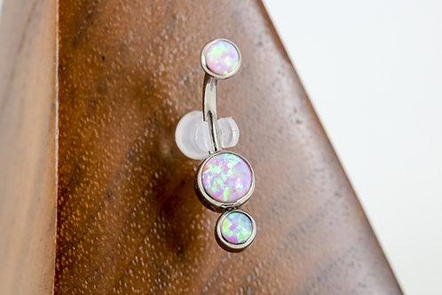 Industrial Strength 'Gemini' Cabochon Opal Navel Curve - Bubblegum Pink