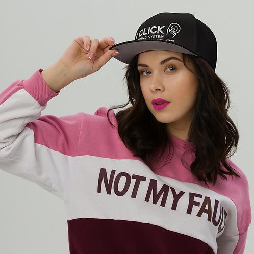 1 Click Embroidered Snapback Black Hat