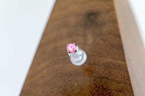 1.2 (16g) Prong Set Hot Pink Opal Bead End